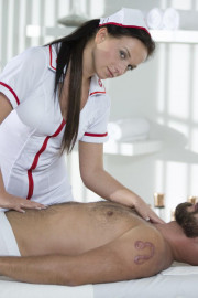 Naughty Natalee Nurses a Hard Cock with Chrissy Curves