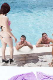 Foursome out by the pool with Anissa Kate and Mira Sunset