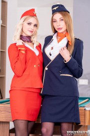 Lika Star and Marilyn Crystal, Air Hostesses Arrive Home with a Bang 	 with Lolly Small and Marilyn Crystal