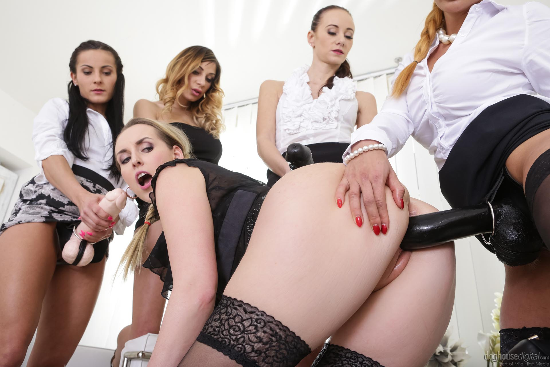 Rough lesbian mistress peeing