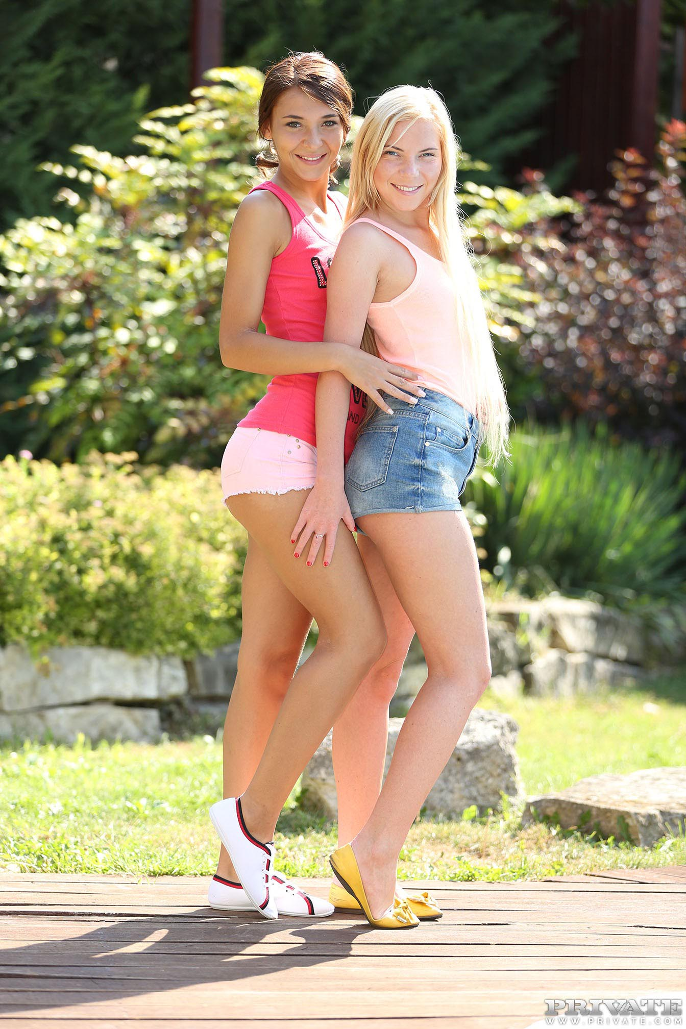 Blonde teen Angie Koks and girlfriend give massage in threesome  1068801