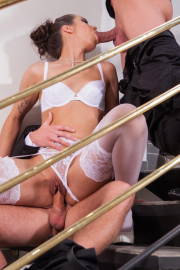 Bride in stockings gets into threesome 10 of 12