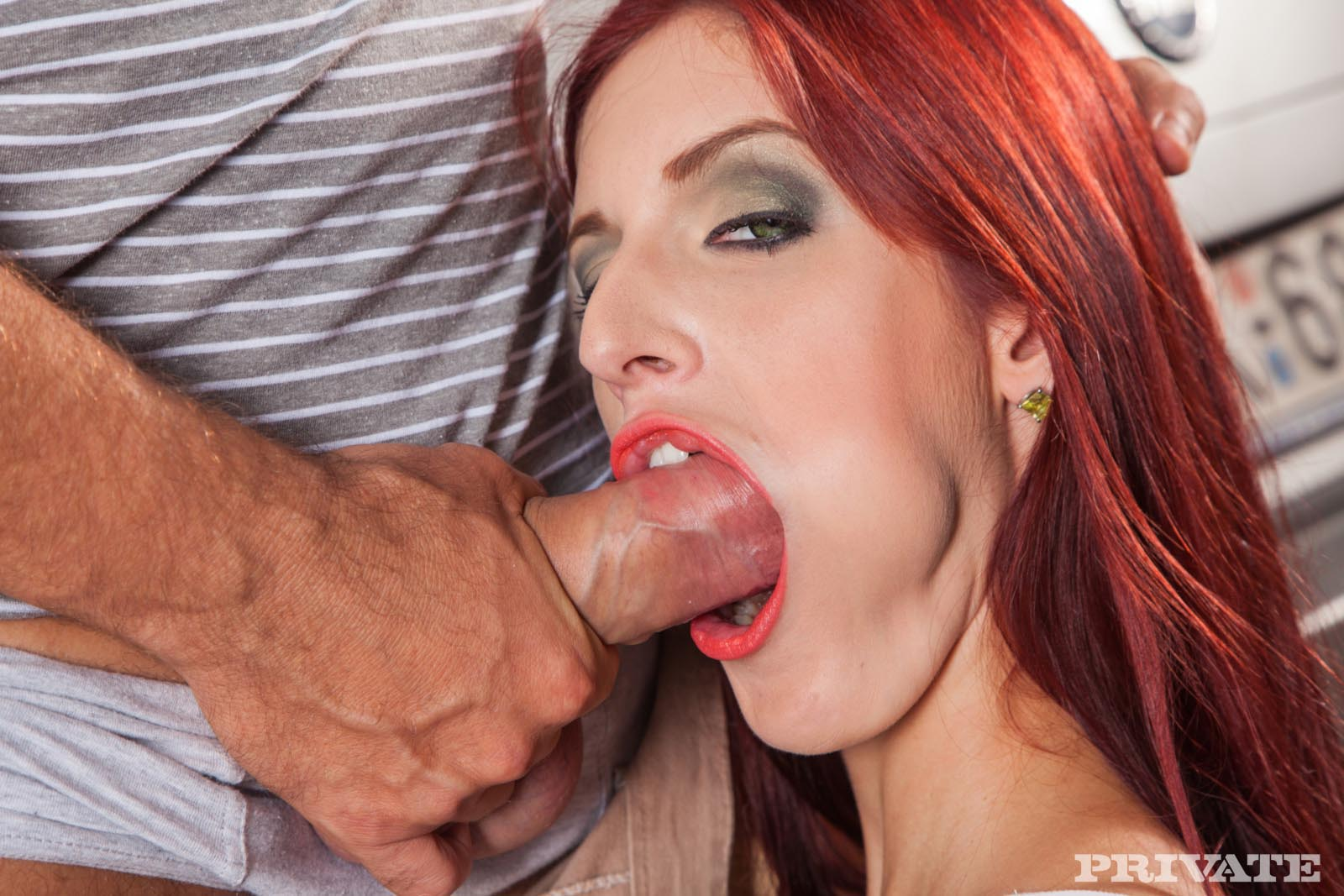 redhead takes it in the ass